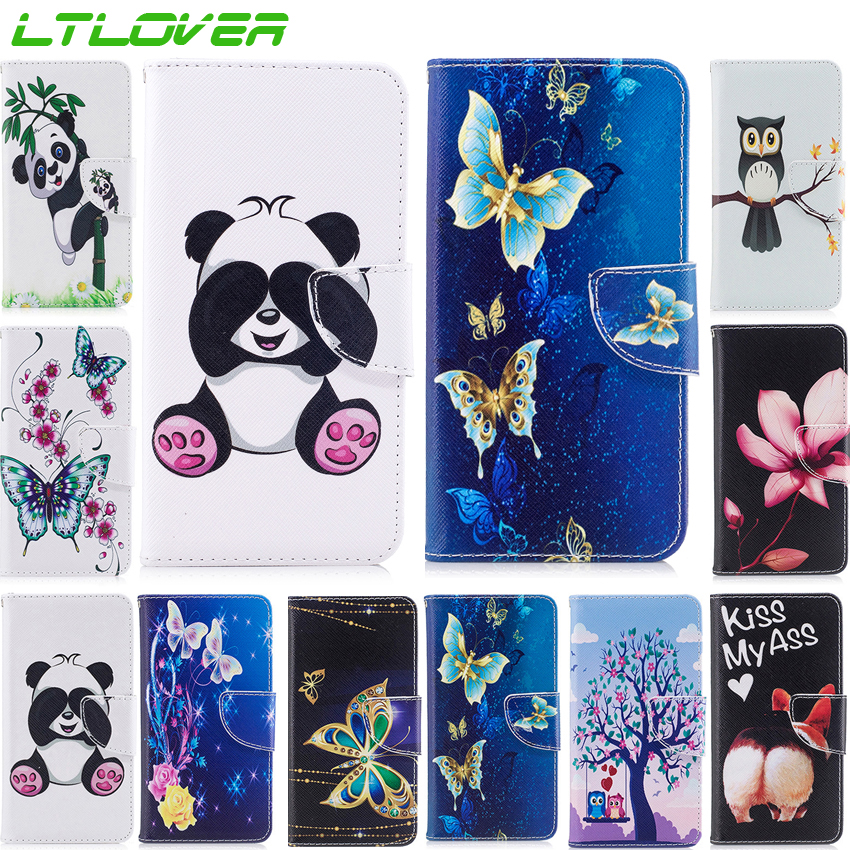 Top Fashion Cartoon Panda Butterfly PU Flip Leather Case For Samusng Galaxy J4 J6 2018 Mobile Phone Cases For Samsung A6 2018 ...
