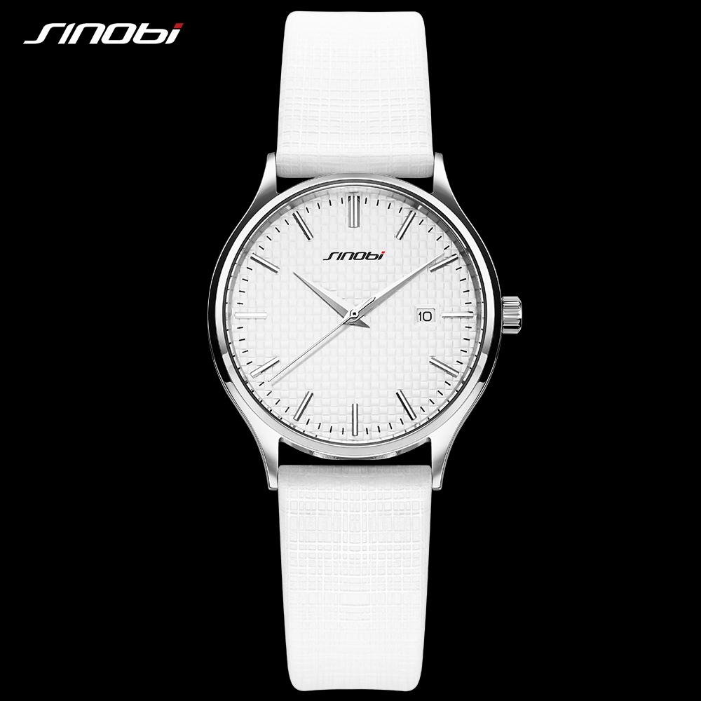 SINOBI 1206L Simple Ideas White Cloth Texture Strap Watches Women Luxury Casual Clock Ladies Wrist Watch Jewellery Watches