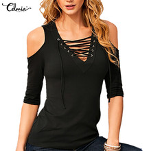 Celmia Sexy Off Shoulder Tops 2019 Summer Women Blouse Sexy V neck Half Sleeve Lace Up Blusas Solid Slim Casual Shirt Plus Size