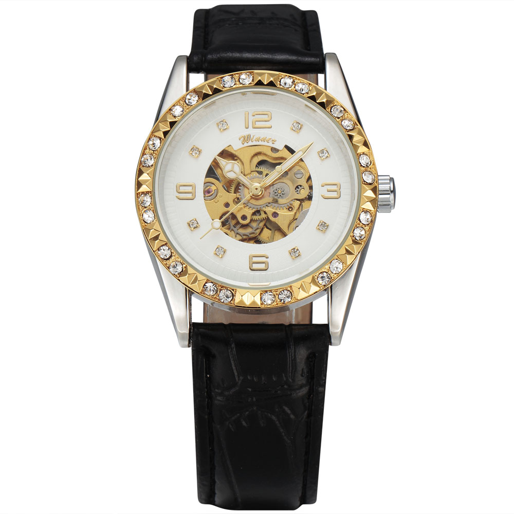 Womens Fashion WINNER Classic Automatic Mechanical Carving Diamond Skeleton Dial Leather Band Ladies Bracelet Wrist WatchesWomens Fashion WINNER Classic Automatic Mechanical Carving Diamond Skeleton Dial Leather Band Ladies Bracelet Wrist Watches