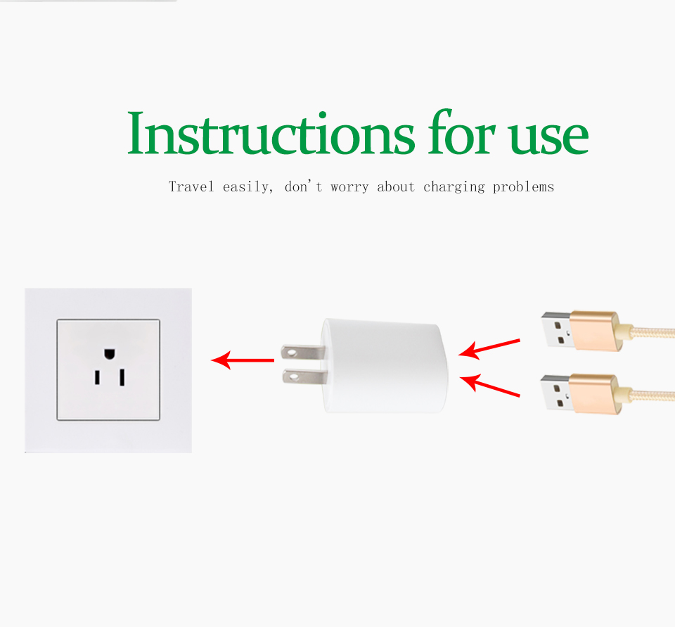 1PC US Adapter 5V2.1A Dual USB Charger For Smart Mobile Phone Charging ACDC Adaptor Travel in Japan Thailand Canada Mexico (5)