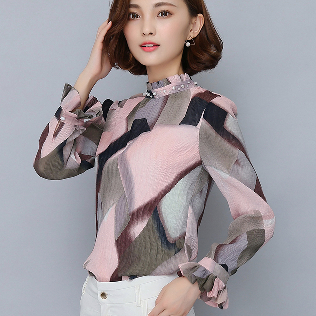 5c416e6947 Print Chiffon Blouse 2016 Autumn Stand Collar Long Sleeve Women Tops Korean Fashion  Clothing Casual Office