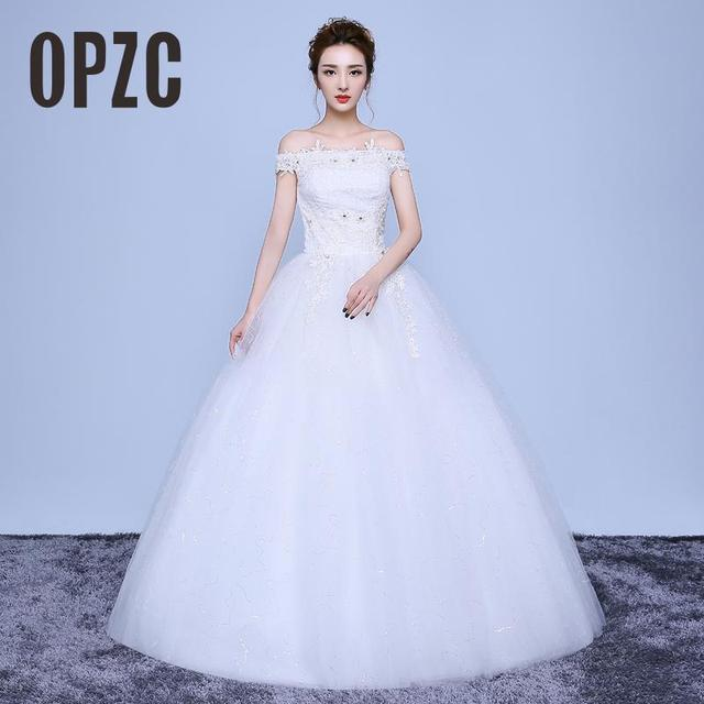 Real Photo 2017 New Korean Style Boat Neck White Wedding dresses ...