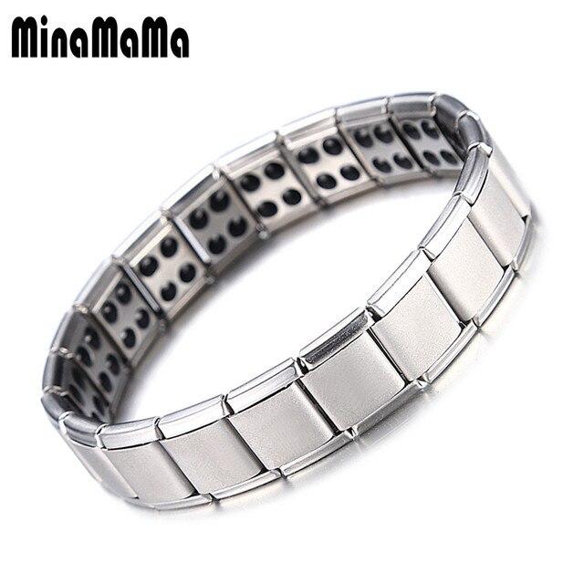 de1178a3ef66 Balance energético pulseras Acero inoxidable turmalina pulsera para hombres  para mujer nueva magnética Pulseras y brazaletes