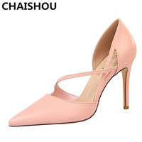 CHAISHOU 2019 New Summer Woman Fetish High Heels Female Strap Blue Sandals Pink Pumps Lady Sexy Scarpins Red Shoes B 194