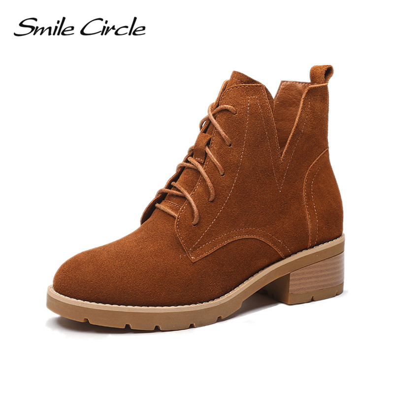 Smile Circle Suede Cow Leather Chelsea Boots Women Ankle Boot Lace-up Round Toe Lady Shoes Women High Heel Short boots sfzb new square toe lace up genuine leather solid nude women ankle boots thick heel brand women shoes causal motorcycles boot
