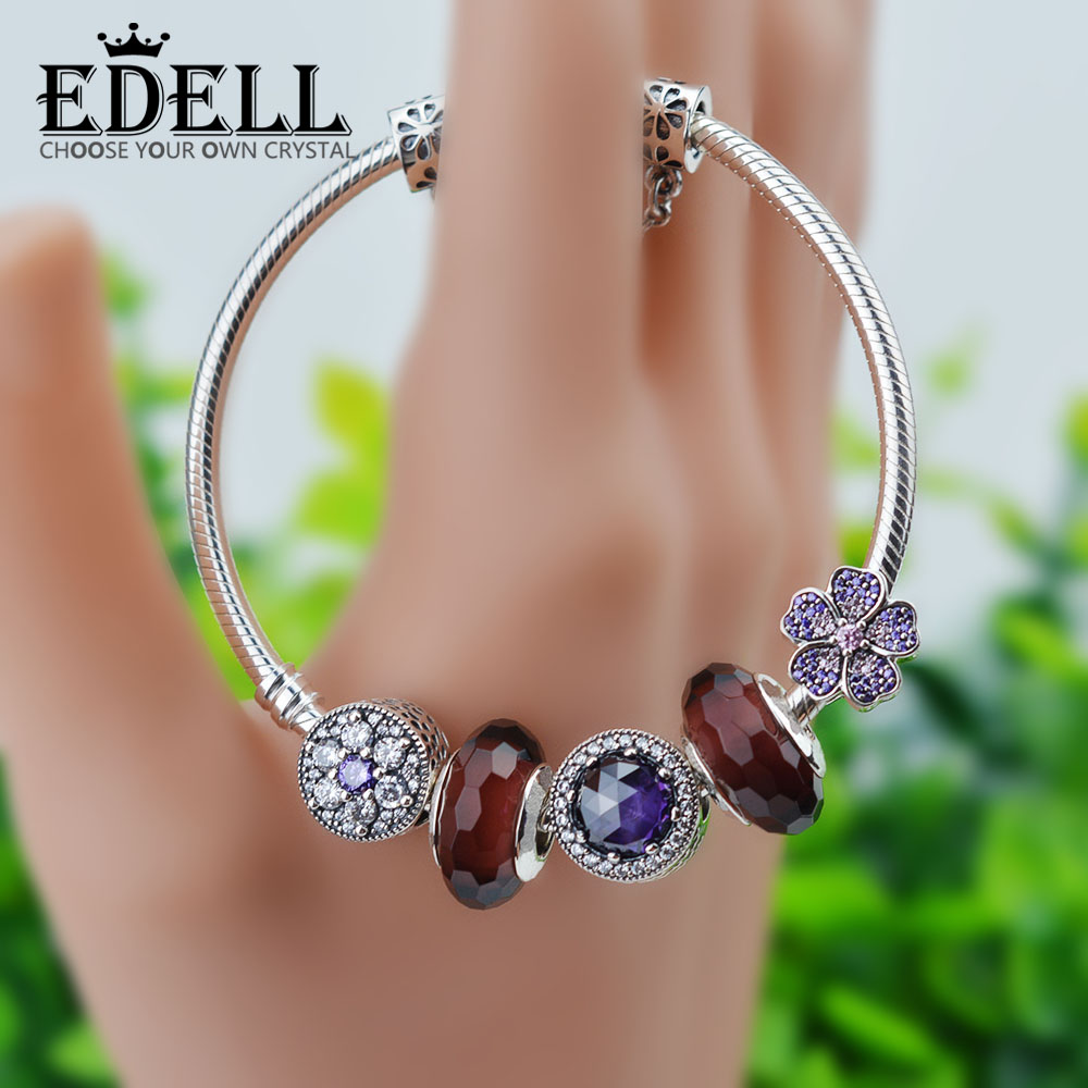 EDELL Adjustable 100% 925 Sterling Silver Bangles &Charm Bracelet For Women With Charm Beads Luxury Original Jewelry Gift edell 100% 925 sterling silver new charm cute cow beaded exquisite lucky women gift original jewelry factory direct sales 797609