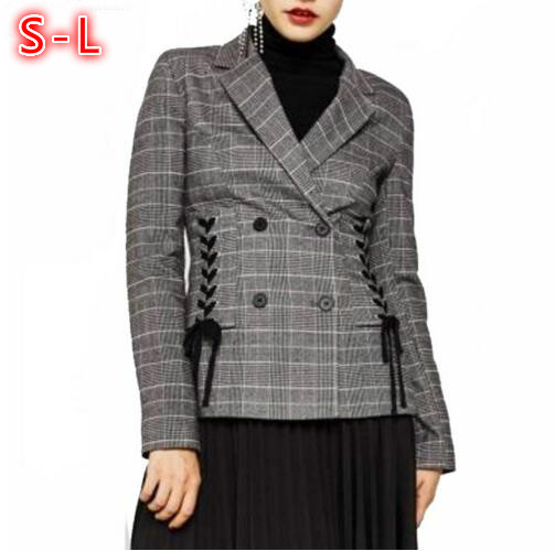 2018 Spring New Long Sleeve Suit jacket Female Casual Plaid Women Blazers Across Lace-Up Slim Double Breasted Blazer