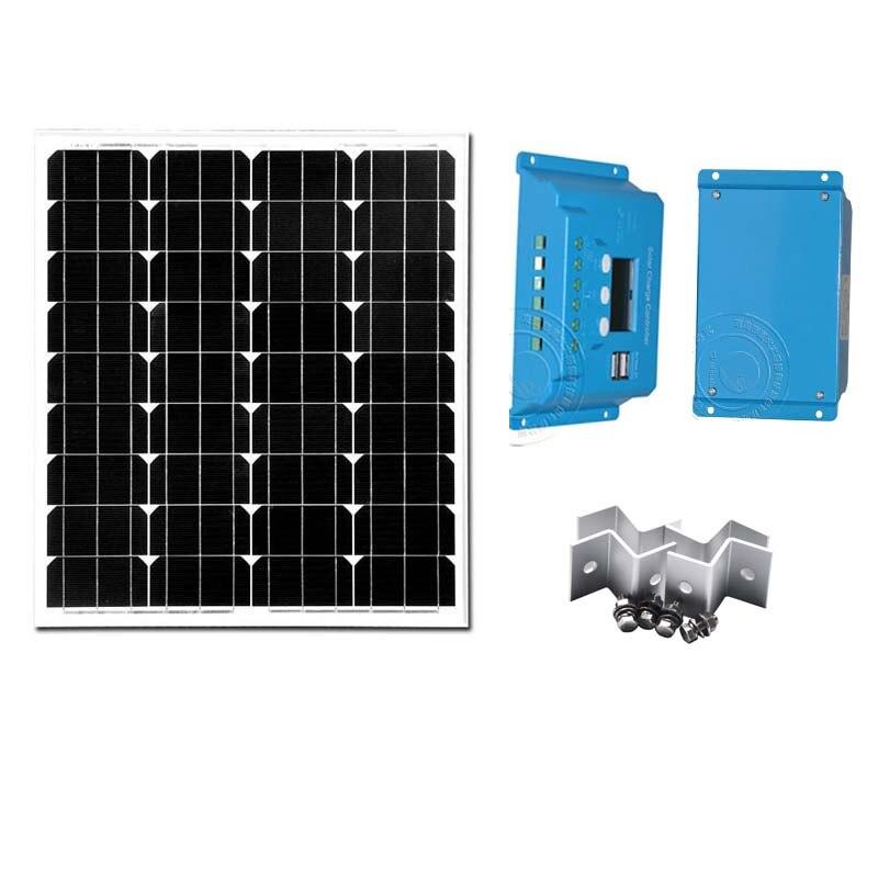 Panneau solaire 12 v 40 W batterie solaire monocristallin pour téléphone Camping régulateur de Charge solaire 10A 12 v/24 V double support USB Z