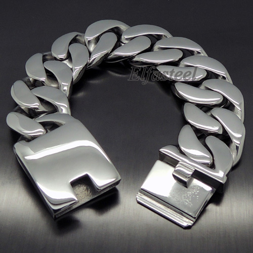 Men S Heavy Thick 316l Stainless Steel Curb Chain Bracelet New Fashion Jewelry 8 5 21