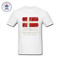 2017 New Fashion Funny American Vintage Denmark Flag Cotton Funny t shirt for men