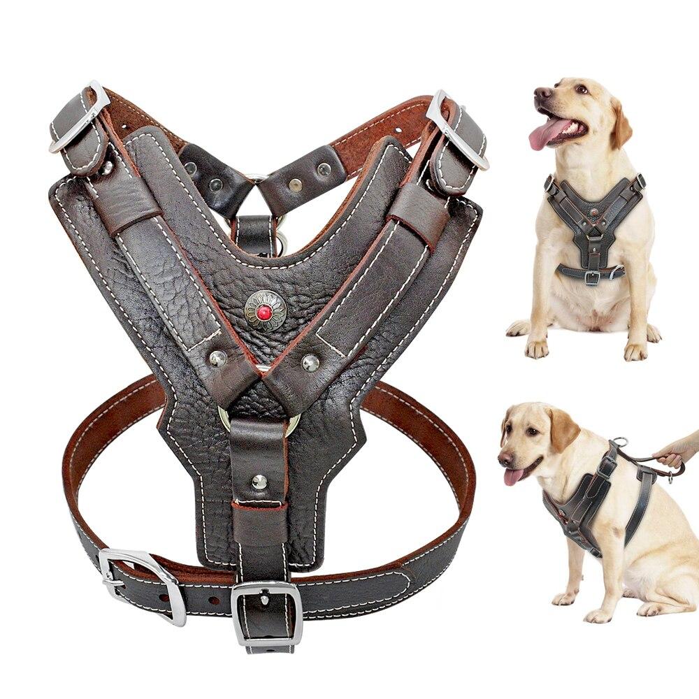 Большой собаки из натуральной кожи жгут прочный регулируемый собака сбруя-жилет Быстрый Управление с ручкой для домашних животных для K9 ла...