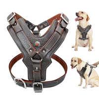 Harnais en cuir véritable pour grands chiens harnais réglable Durable pour chien harnais contrôle rapide avec poignée fournitures pour animaux de compagnie pour K9 Labrador