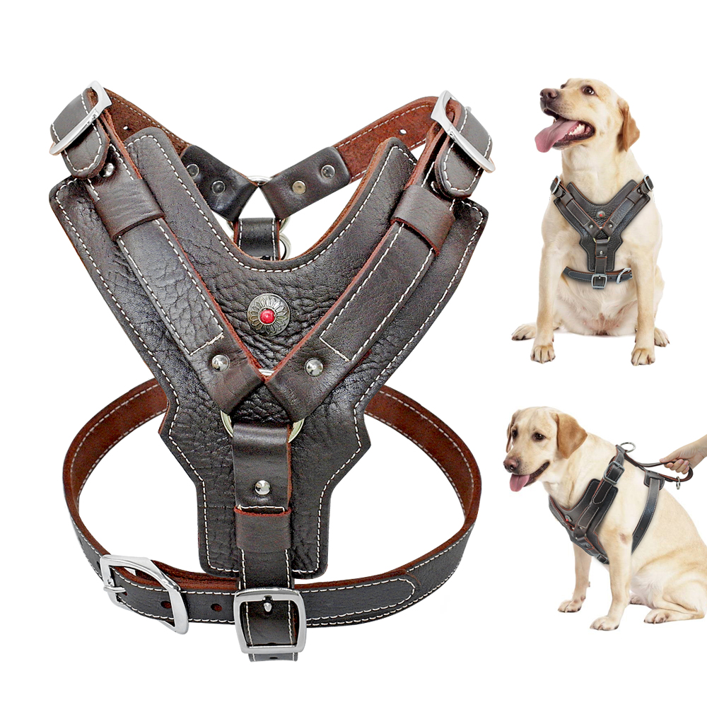 Large Dogs Genuine Leather Harness Durable Adjustable Dog Vest Harnesses Quick Control With Handle Pet Supplies For K9 Labrador