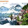CHENISTORY Frameless Water Town DIY Painting By Numbers Landscape Modern Wall Art Picture Paint By Numbers