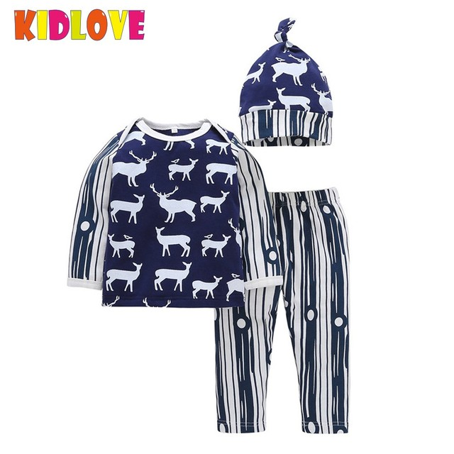 ad3b8112860 KIDLOVE Baby Boy Clothing Set Deer Print Blue Stripe Long Sleeve T-shirt  Pants Hat 3pcs Suit Newborn Infant Kids Clothes ZK30