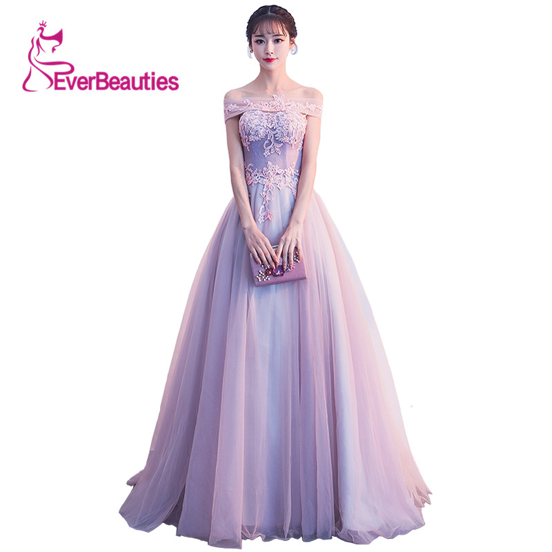 Evening     Dress   Banquet Elegant Bride Boat Neck with Appliques Long Prom Formal Gown Robe De Soiree