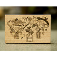 DIY Flower And Bird Rubber Wooden Stamps For Carimbo Stempel Postcard Or Bookmark Scrapbooking Stamp 9