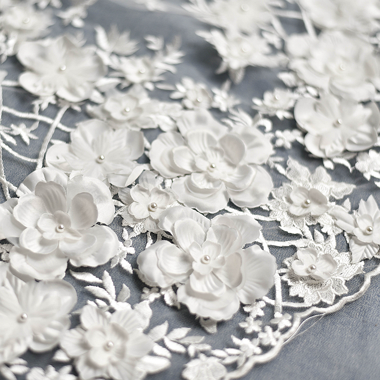 Free Shipping Wedding Dress Lace Fabric 3D Chiffon Flowers Nail Bead High End European Lace Fabric