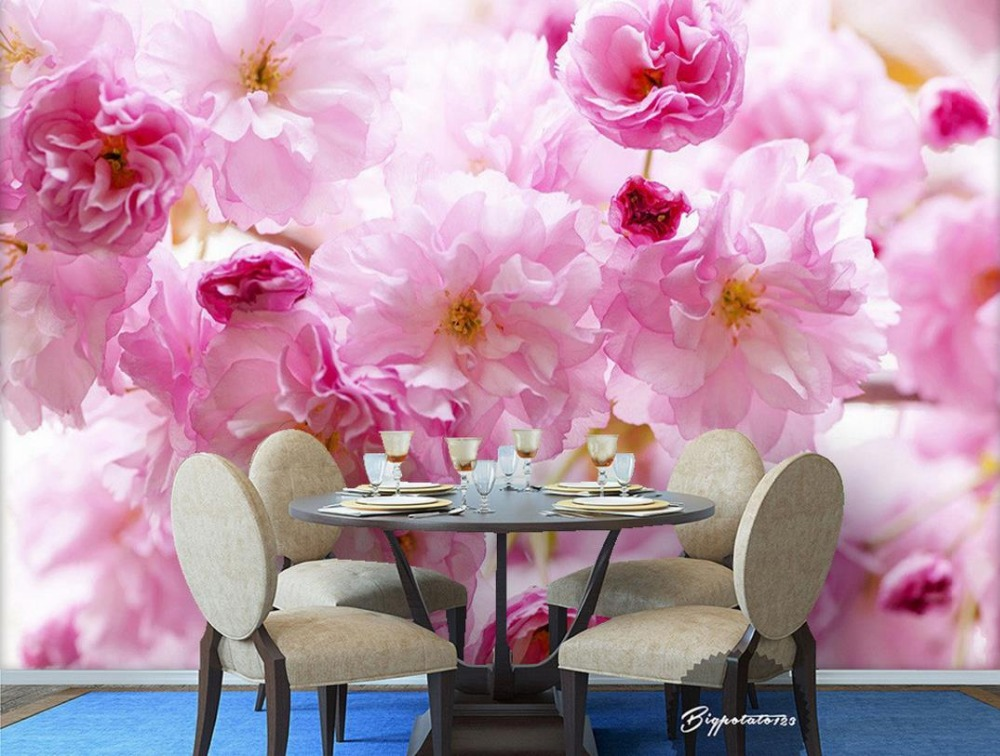 Brick wall wallpaper pink cherry blossoms custom 3d murals wallpaper ...