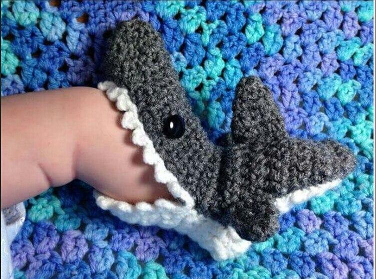 Crochet  Shark Socks Botties For Baby Gift Crocheted