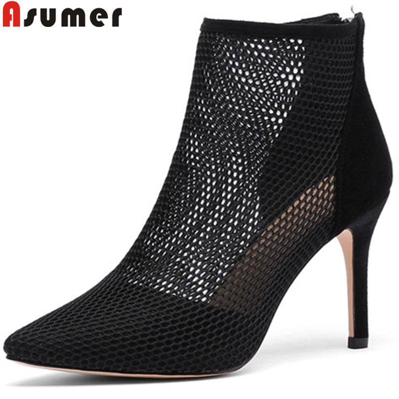 ASUMER Ankle-Boots Suede Prom-Shoes High-Heels Pointed-Toe Hollowing-Out Autumn Fashion