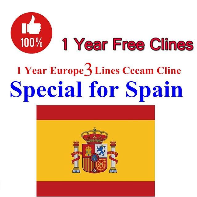 Cccam Clines Server 1 Year 3line Europe Spain For DVB-S2 Receptor Satelite Receiver For V8 Super V7s HD V9 Super