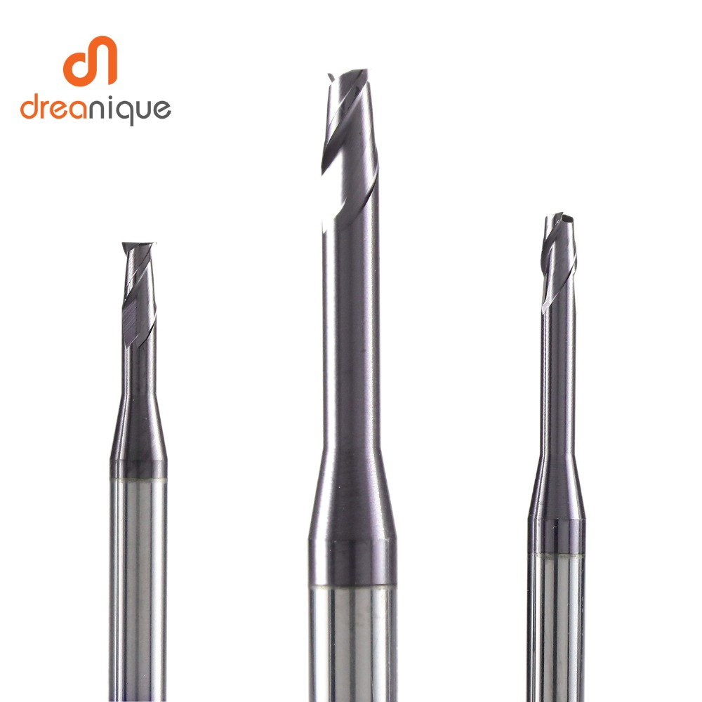 1pc 2 Flute Cabide End Mill D0.5-d2.0 For Deep Slot Milling Mold Making Long Neck End Mills Cnc Milling Cutter Mold End Mills