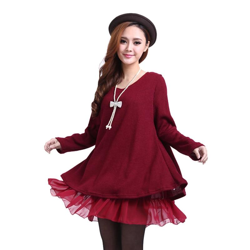 Spring Autumn Dress Women Vestidos Pleated Mini Dress Knitted Chiffon Patchwork Full Sleeve O Neck Loose Women Vestido Plus Size цена и фото