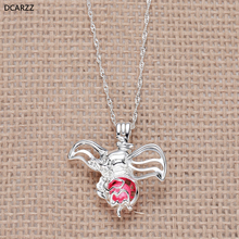 Baby Dumbo Pearl Cage Necklace Flying Elephant Cartoon Pendant Silver Chain Women/Girls Charm Necklaces Gift Beads DIY Jewelry