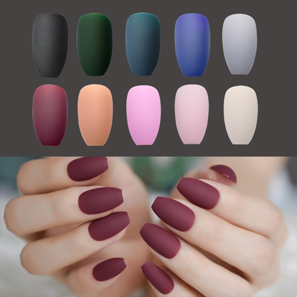 Matte Ballerina Nail Art Tips Burgundy Blue Black Green False Coffin Nails Soft Pink Grey Flat Shape Manicure Fake In From Beauty