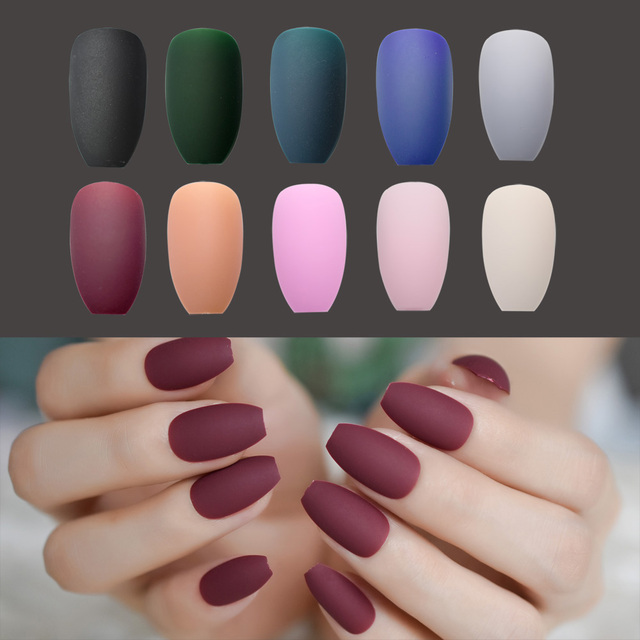 Matte Ballerina Nail Art Tips Burgundy Blue Black Green False Coffin ...