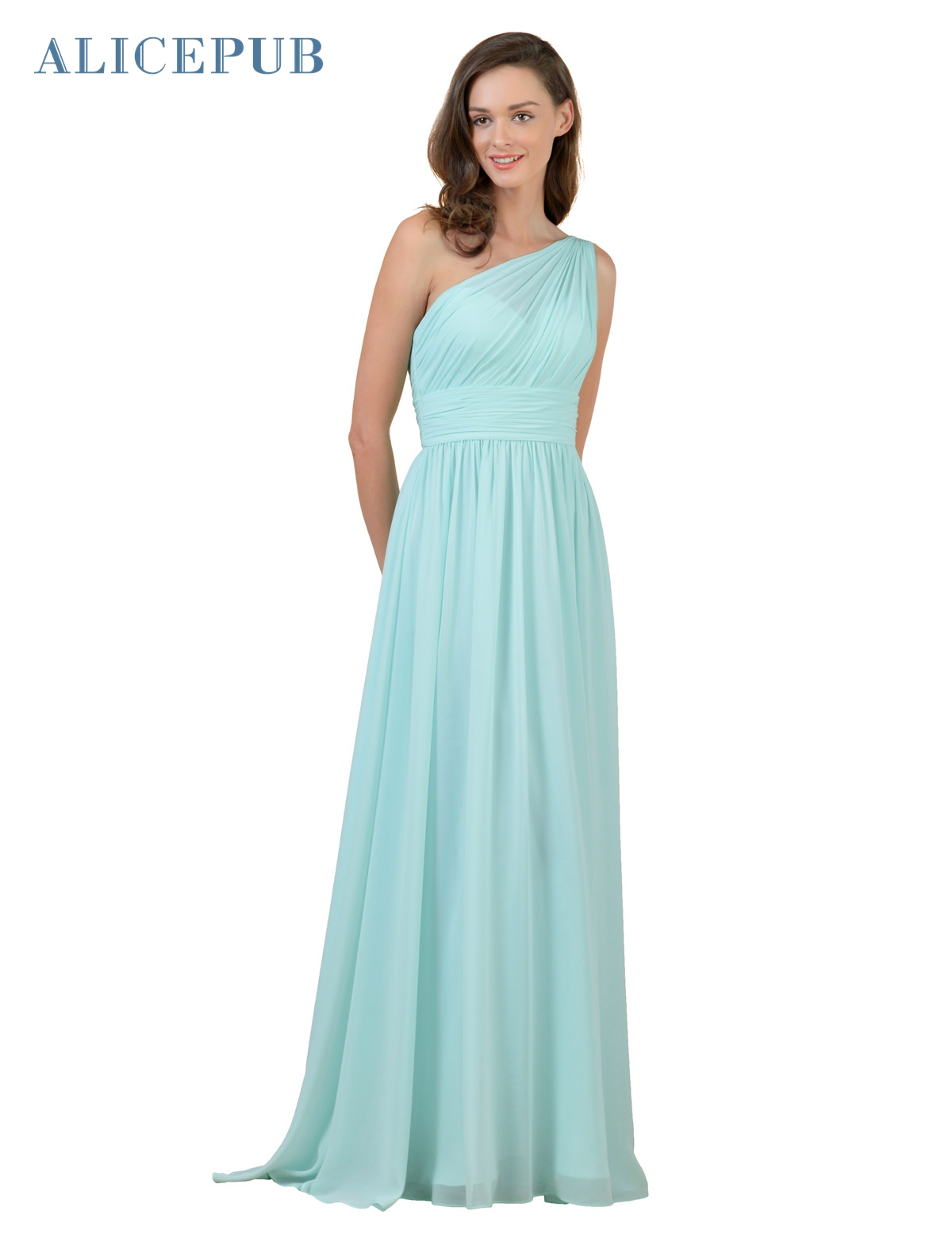 Popular one shoulder bridesmaid dresses long buy cheap one alicepub one shoulder bridesmaid dresses long chiffon bridal party homecoming dressing gown coral purple mint pink ombrellifo Images