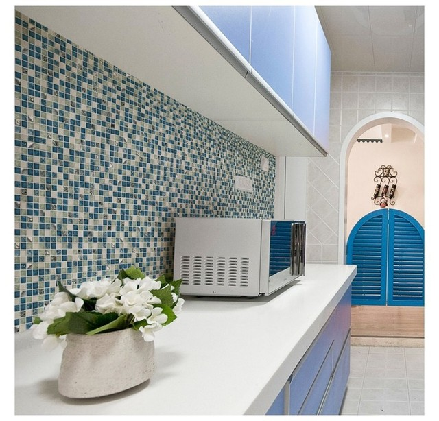 Shinny Mediterranean Blue Glass Mixed White Stone Tiles Mosaic For Bathroom Shower Fireplace