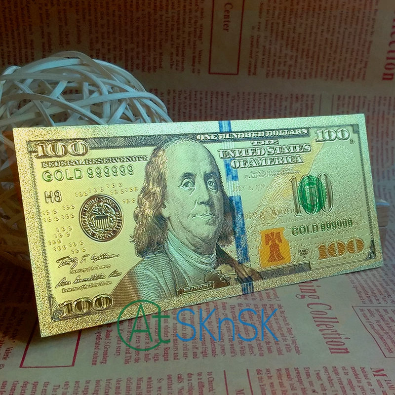 10pcs/lot USD100 Gold Dollar Colorful America Banknotes Paper Money Gold Foil Plated Banknote Currency Collection Gifts