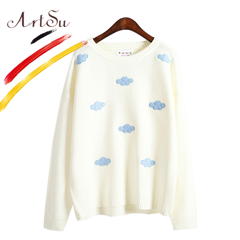 ArtSu Cute Clouds Embroidery Long Sleeve Pullover Street O-Neck Knitted Sweaters Women 2017 Warm Sueter Mujer Jumper ASSW20140