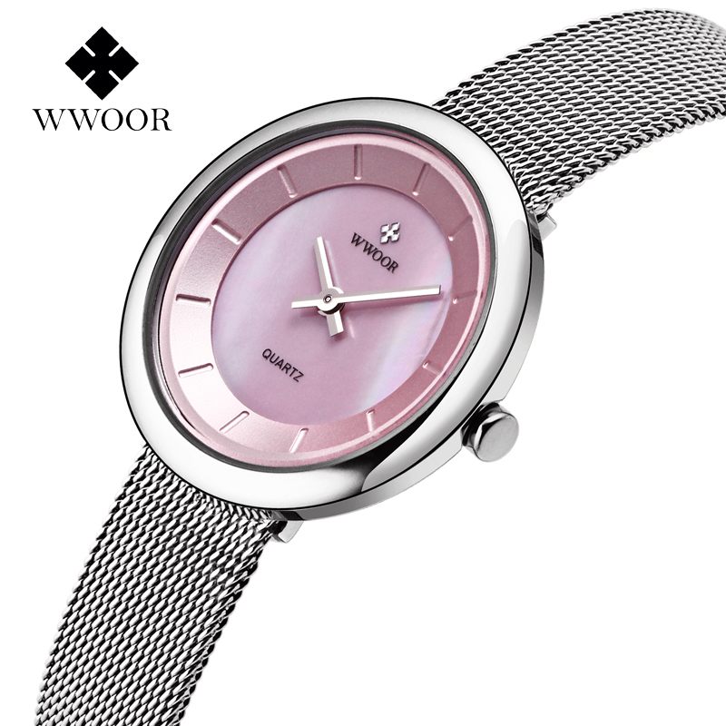 Prix pour WWOOR Nouvelles Femmes Montres À Quartz-montre Robe Dames Montre Femmes Relojes Mujer Classique Rétro Sangles Inox shell visage rose
