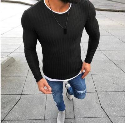 2018 men's autumn sexy skinny sweater