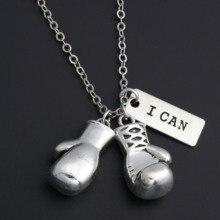 """1 шт Серебряная боксерская перчатка Подвески ожерелье с вдохновляющими словами """"Я могу"""" кулон для мужчин спортивные ювелирные изделия Keep Fit E271"""