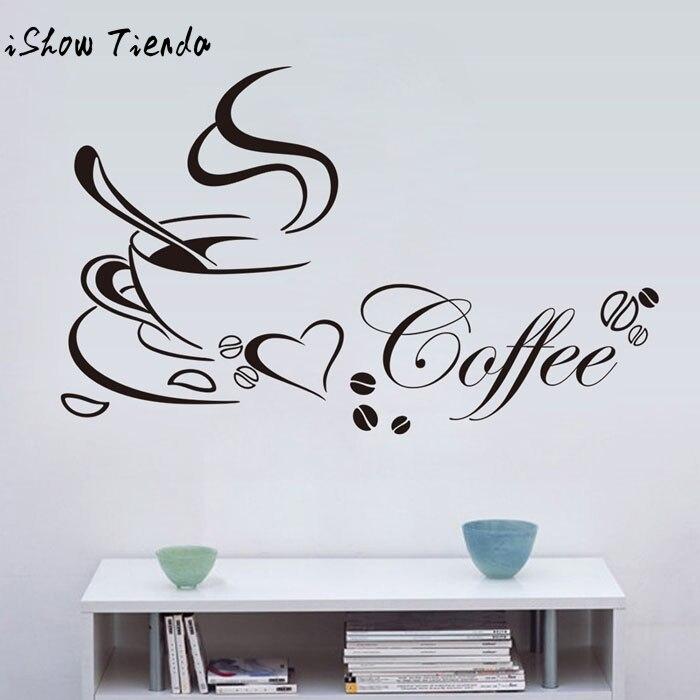 2017 wallsticker съемный Украшения для кухни Кофе чашки дома наклейки виниловые Книги по искусству стены Стикеры Adesivo де Parede домашнего декора
