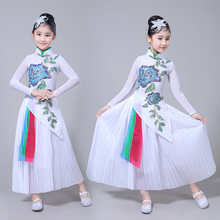 Hanfu children's classical dance costumes girls elegant Chinese style folk dance fan dance modern dance costumes цена и фото