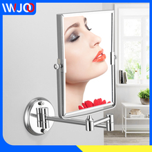 Makeup Mirror Stainless Steel Bathroom Mirror Square Cosmetic Mirror Wall Mounted Dual Arm Extend 2-Face Mirror Magnifying стоимость