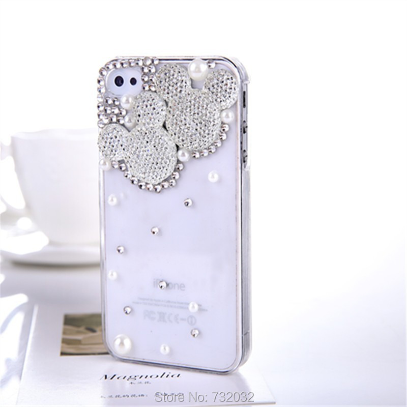 Bling Minnie/Mickey Diamond Pearl Phone Cover Samsung S8 S3 S4 S5 mini S7 S6 Edge Note 3 4 5 iPhone 4s 5s 5C 6s 7 Plus - huhu's store