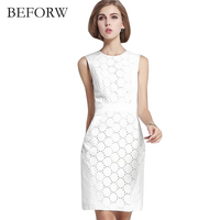 BEFORW Summer Women Sexy Sleeveless Solid Color Slim Large Size Dress Fashion Casual Lace Plus Size
