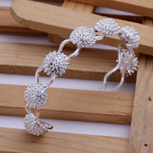 2015 new arrived 925 sterling silver jewelry many sunflower link open cuff bracelet  bangle for women promotion trendy