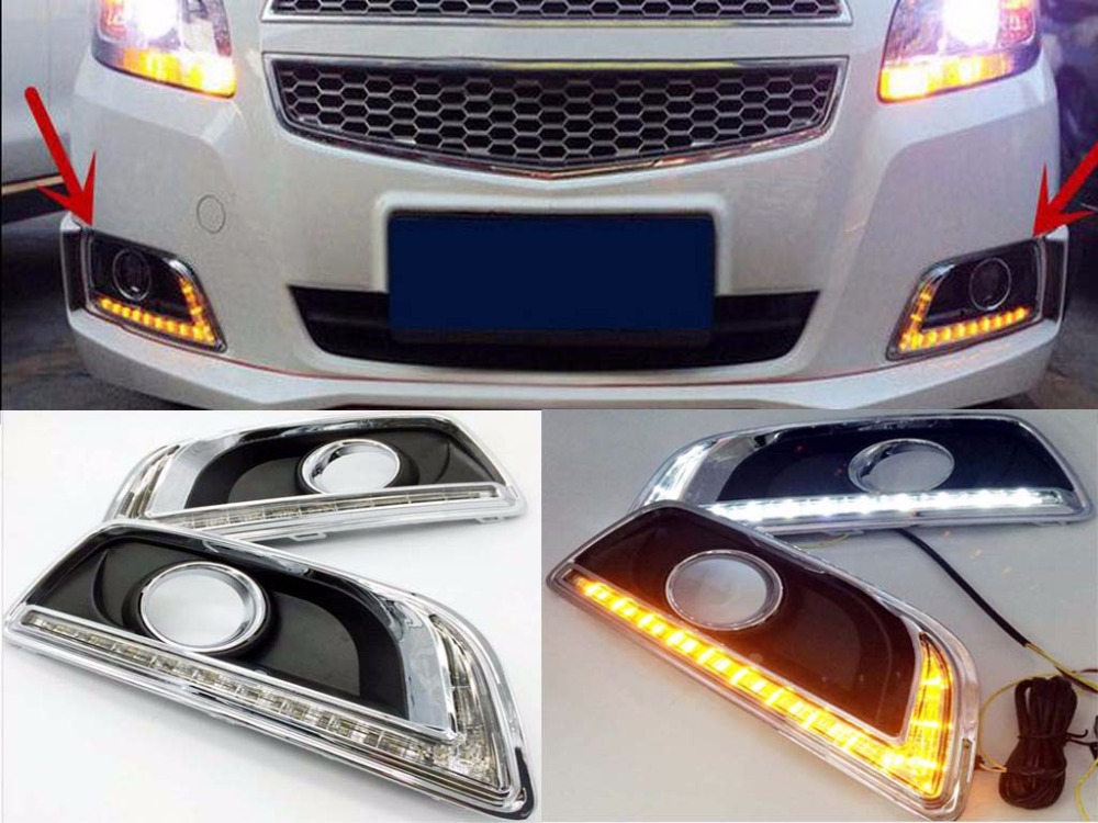 2xLED Daytime Running Light for Chevrolet Malibu 2011-2015 White+Yellow Fog Lamps чехол на сиденье skyway chevrolet cobalt седан ch2 2