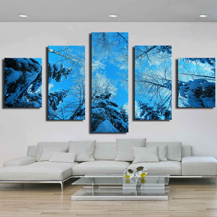 5 panels winter forest fir tree snow winter modern art canvas wall paintings decorative canvas prints paintings for living room in painting calligraphy