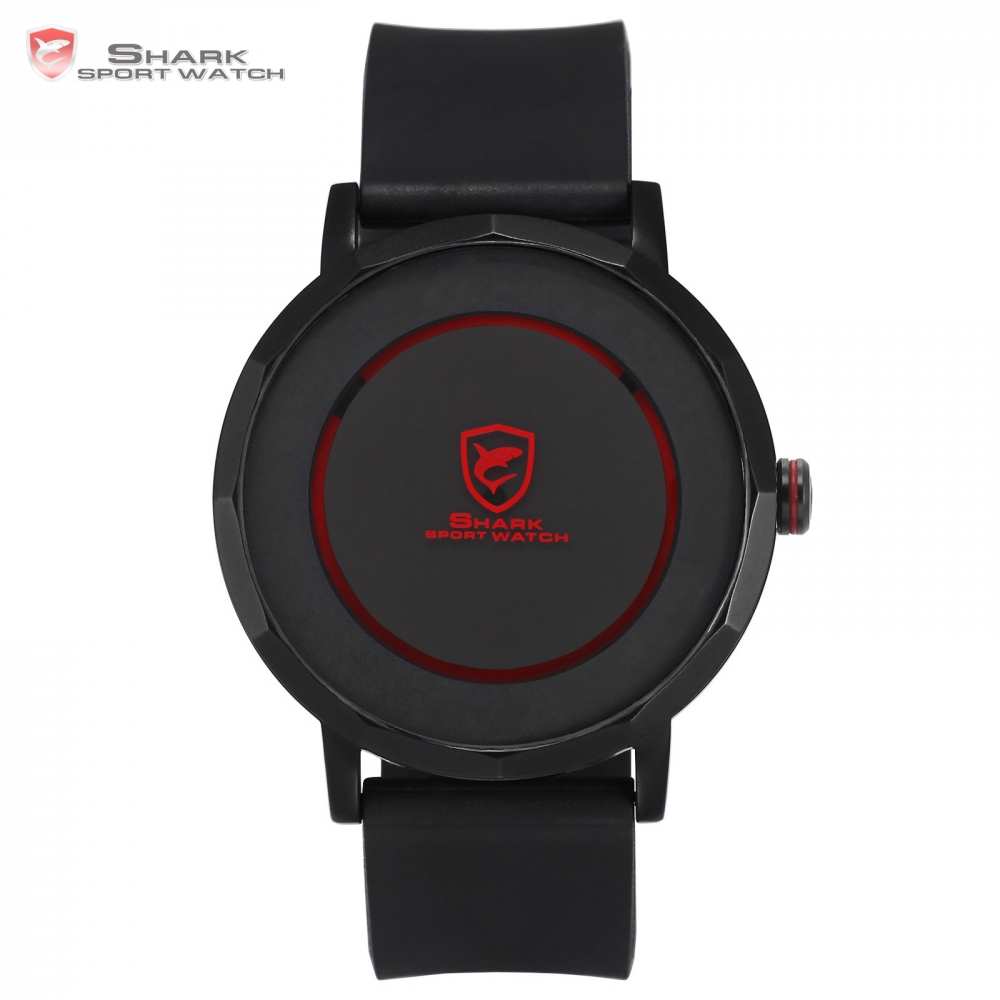 ФОТО Dusky Shark Sport Watch Red Black Waterproof Simple Round Rotate Display Reloj Hombre Rubber Band Mens Quartz Wrist Watch /SH512
