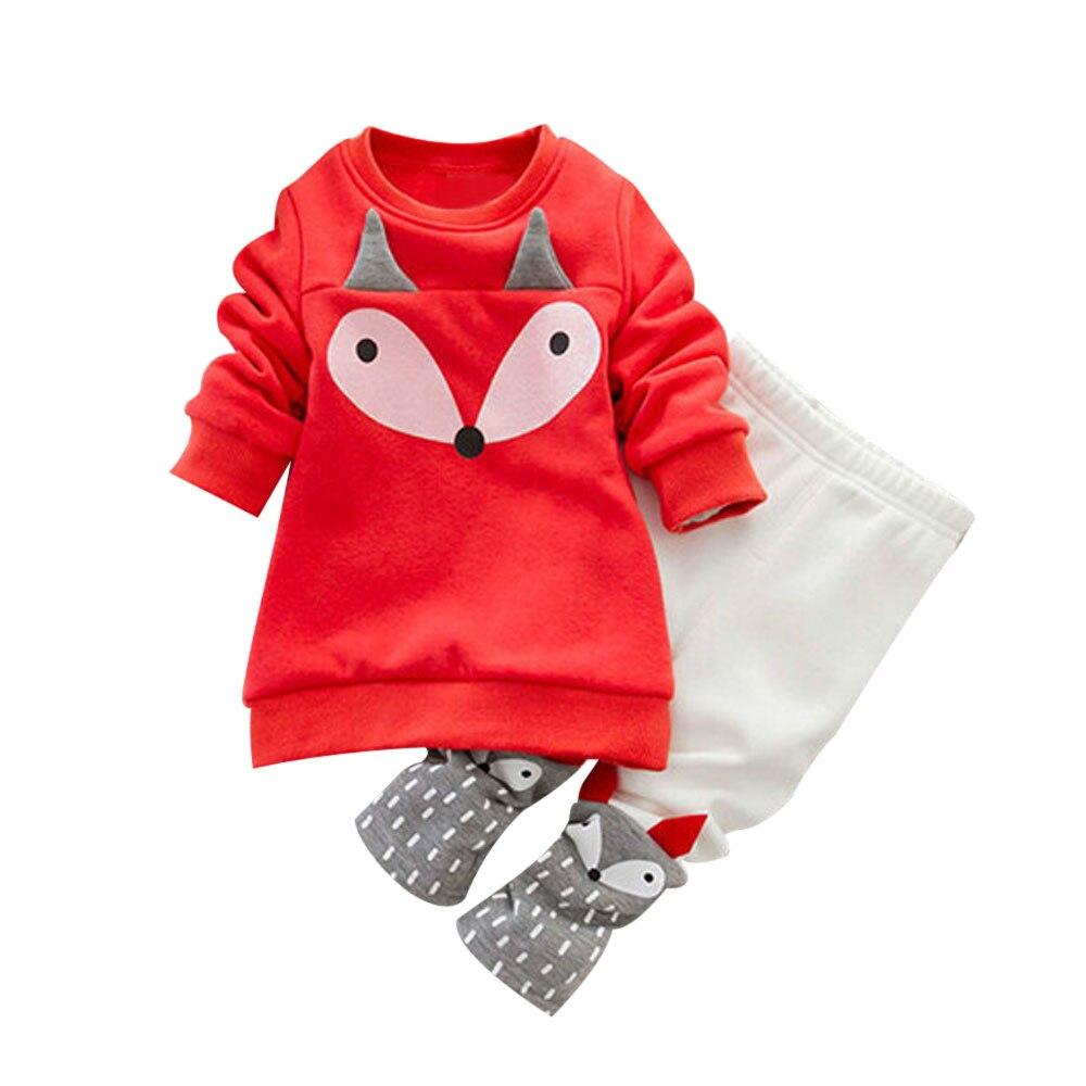 Горячая осень-зима Милая одежда для малышей мальчиков и девочек FOX с длинным рукавом толстый свитер рубашка Топ + Брюки для девочек наряды Ко...