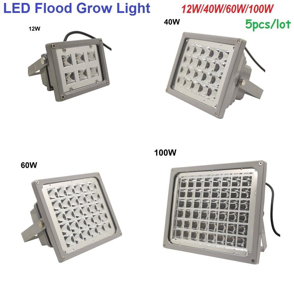 Led Flood Light Spectrum: 5pcs/lot Waterproof IP65 LED Flood Grow Light Lamps 12W